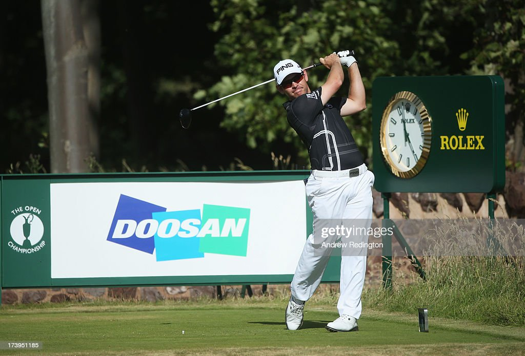 Louis Oosthuizen of South Africa tees off on the 9th hole during the first round of the 142nd Open Championship at Muirfield on July 18, 2013 in Gullane, Scotland.