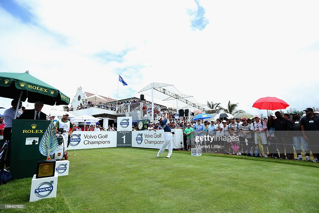 Louis Oosthuizen of South Africa tees off on the first hole during the final round of the Volvo Golf Champions at Durban Country Club on January 13, 2013 in Durban, South Africa.