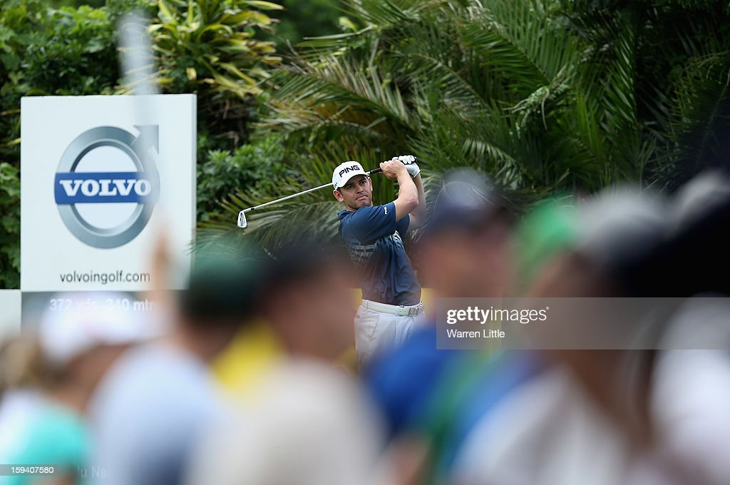 Louis Oosthuizen of South Africa tees off on the seventh hole during the final round of the Volvo Golf Champions at Durban Country Club on January 13, 2013 in Durban, South Africa.