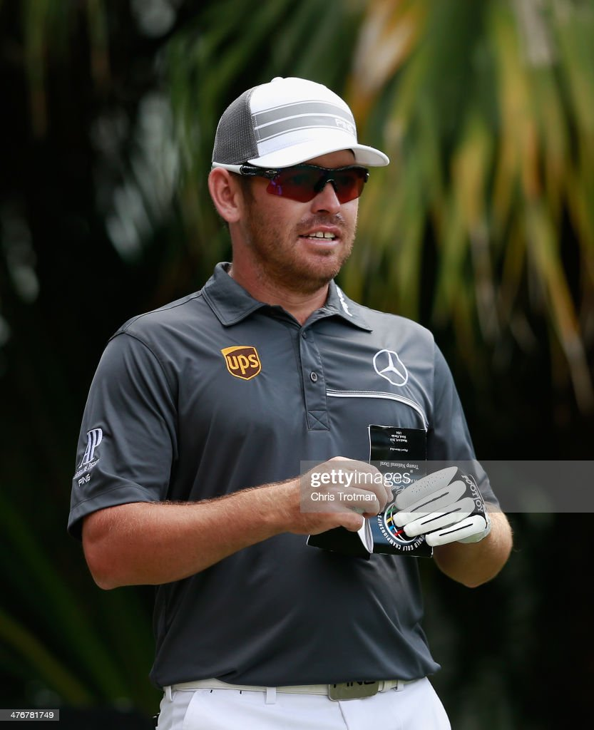Louis Oosthuizen of South Africa waits on a tee box during a practice round prior to the start of the World Golf Championships-Cadillac Championship at Trump National Doral on March 5, 2014 in Doral, Florida.