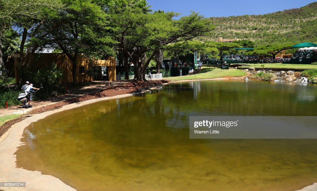 Louis Oosthuizen of South Africa walks to the ninth green during the first round of the Nedbank Golf Challenge at Gary Player CC on November 9, 2017 in Sun City, South Africa.