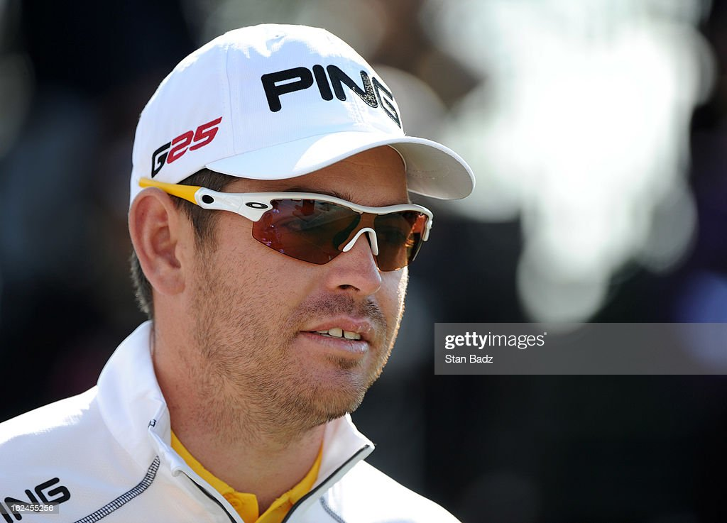 Louis Oosthuizen waits to play the first hole during the third round of the World Golf Championships-Accenture Match Play Championship at The Golf Club at Dove Mountain on February 23, 2013 in Marana, Arizona.