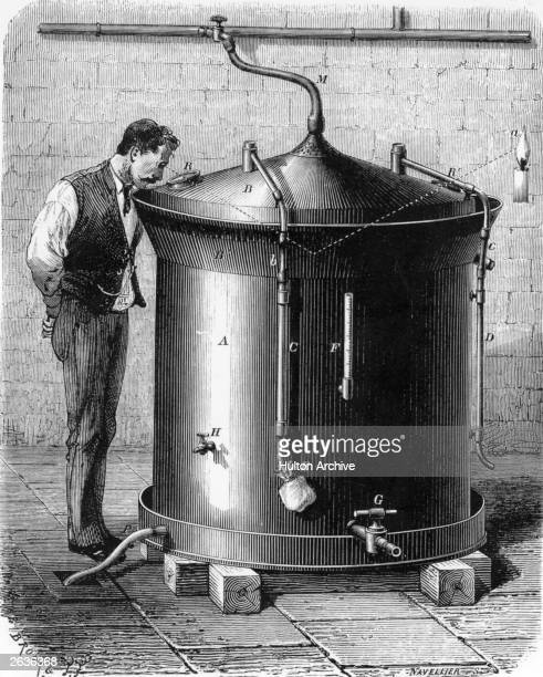 Louis Pasteur French Chemist and pioneer microbioligist used this apparatus for cooling and fermenting during his work on beer From Louis Figuier's...