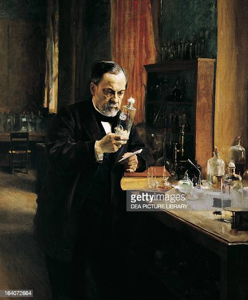 Louis Pasteur French chemist biologist and microbiologist in his laboratory Painting by Albert Edelfelt 1885 Paris Musée D'Orsay