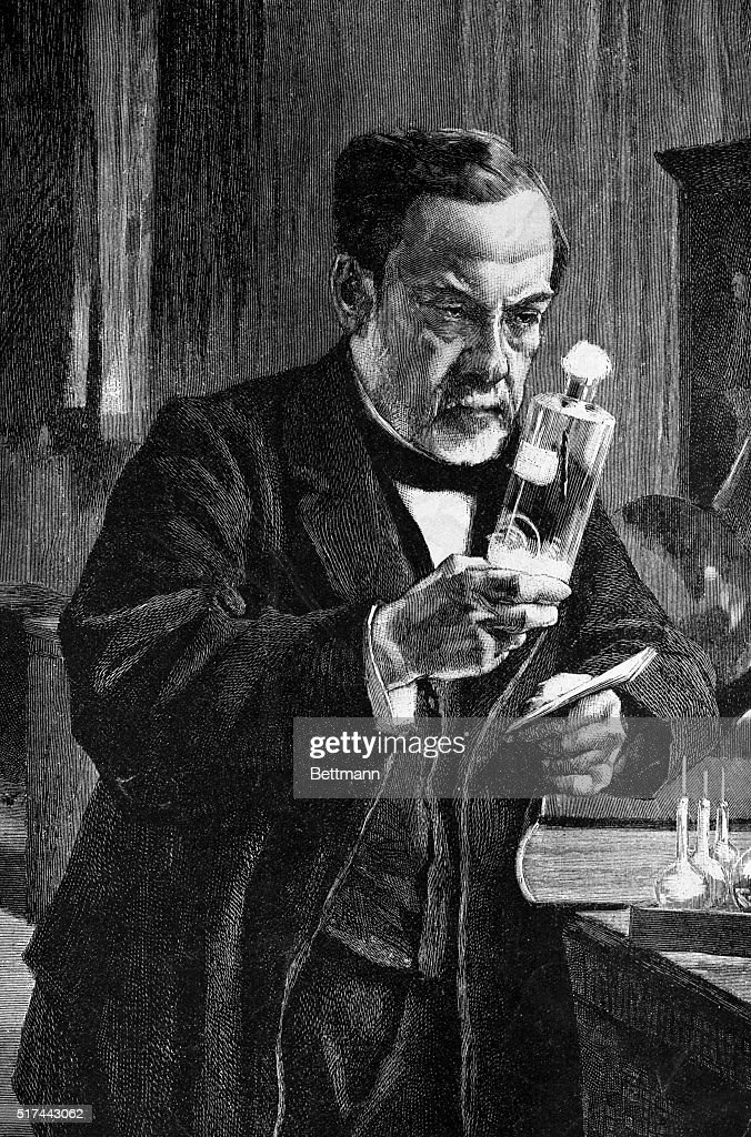 Louis Pasteur (1822-1895) in his laboratory. Undated woodcut after a ...
