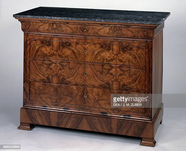 Louis Philippe style commode table with walnut veneer finish and SainteAnne gray marble top France 19th century