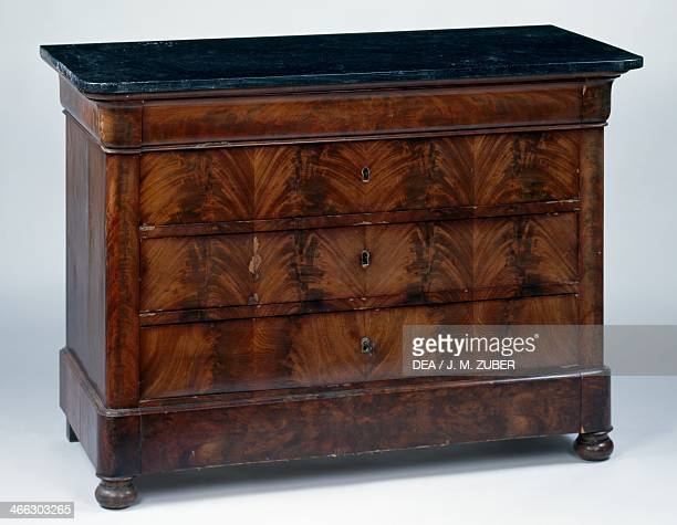 Louis Philippe style flamed mahogany commode table with flamed mahogany veneer finish and gray marble top ca 1830 France 19th century