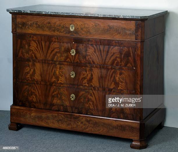 Louis Philippe style mahogany secretary commode with flamed mahogany veneer finish and SainteAnne gray marble top France 19th century