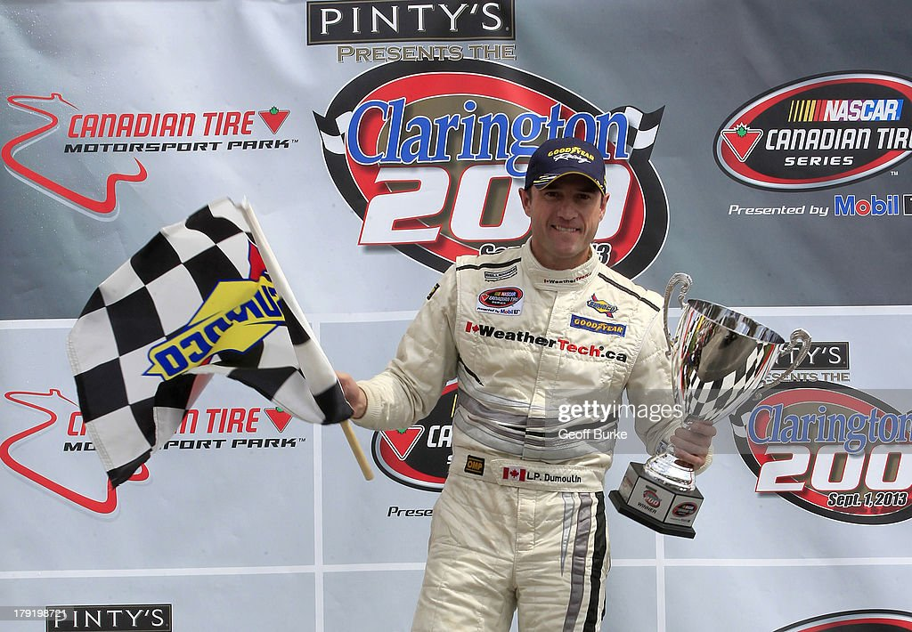 Louis Phillippe Dumoulin of Canada, driver of the #47 Weather Tech Canada Bellemare Dodge, celebrates after winning the NASCAR Canadian Tire Series presented by Mobil 1 Pinty's presents the Clarington 200 at the Canadian Tire Motorsports Park on September 1, 2013 in Bowmanville, Ontario, Canada.