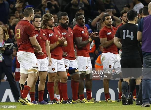 Louis Picamoles Brice Dulin Dimitri Szarzewski Mathieu Bastareaud Yannick Nyanga Wesley Fofana of France look dejected followingthe 2015 Rugby World...