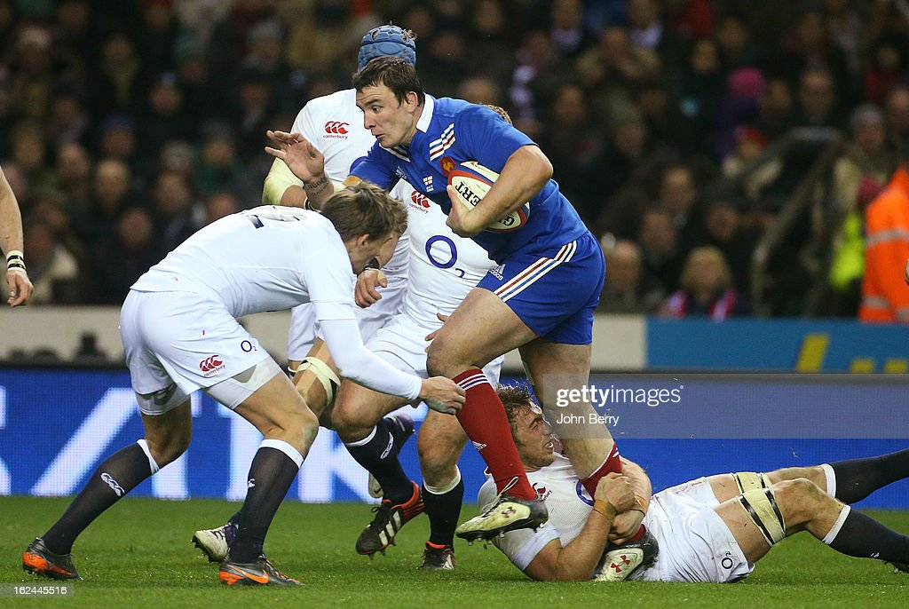 <a gi-track='captionPersonalityLinkClicked' href=/galleries/search?phrase=Louis+Picamoles&family=editorial&specificpeople=4877126 ng-click='$event.stopPropagation()'>Louis Picamoles</a> of France in action during the RBS Six Nations match between England and France at Twickenham Stadium on February 23, 2013 in London, England.