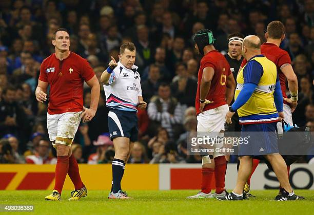 Louis Picamoles of France is sent to the sinbin by referee Nigel Owens during the 2015 Rugby World Cup Quarter Final match between New Zealand and...