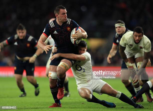 Louis Picamoles of France is tackled by Ben Youngs of England during the RBS Six Nations match between England and France at Twickenham Stadium on...