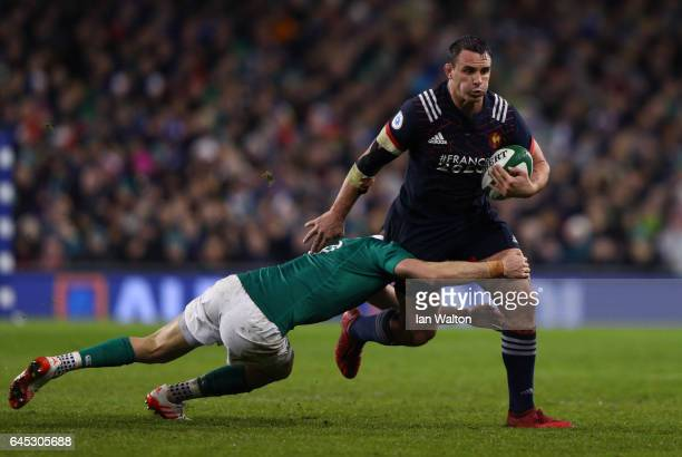 Louis Picamoles of France is tackled by Conor Murray of Ireland during the RBS Six Nations match between Ireland and France at the Aviva Stadium on...