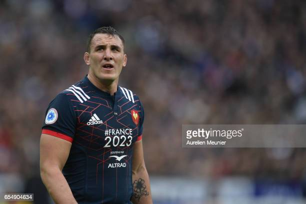 Louis Picamoles of France reacts during the RBS Six Nations match between France and Wales at Stade de France on March 18 2017 in Paris France