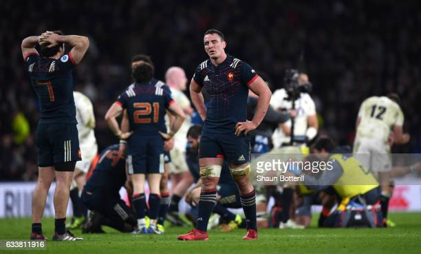 Louis Picamoles of France shows his dejection at the final whistlethe RBS Six Nations match between England and France at Twickenham Stadium on...