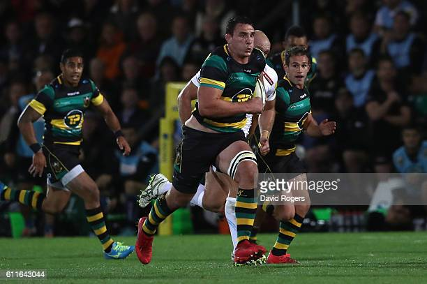 Louis Picamoles of Northampton breaks with the ball during the Aviva Premiership match between Northampton Saints and Exeter Chiefs at Franklin's...