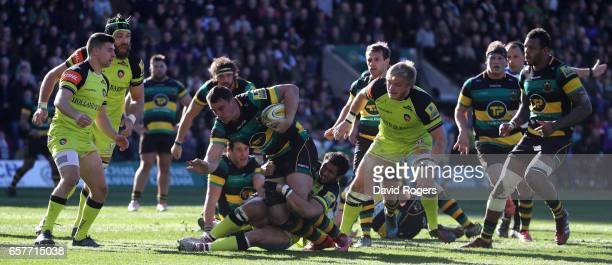 Louis Picamoles of Northampton breaks with the ball during the Aviva Premiership match between Northampton Saints and Leicester Tigers at Franklin's...