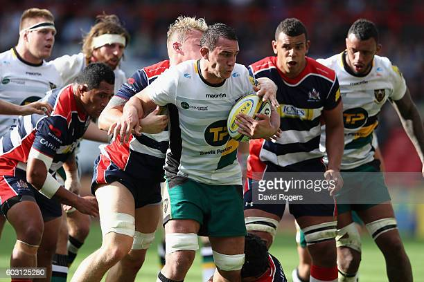 Louis Picamoles of Northampton is held by Mitch Eadie during the Aviva Premiership match between Bristol and Northampton Saints at Ashton Gate on...