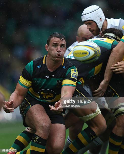 Louis Picamoles of Northampton passes the ball during the Aviva Premiership match between Northampton Saints and Bath at Franklin's Gardens on...