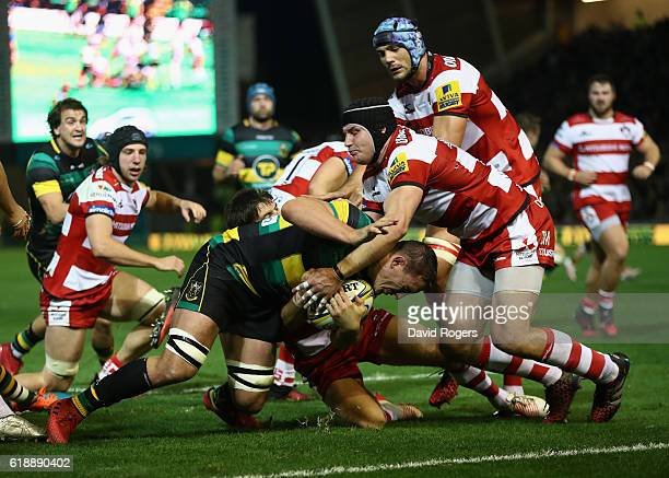 Louis Picamoles of Northampton powers forward to score the first try during the Aviva Premiership match between Northampton Saints and Gloucester...