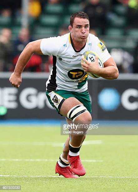 Louis Picamoles of Northampton runs with the ball during the Aviva Premiership match between Saracens and Northampton Saints at Allianz Park on...