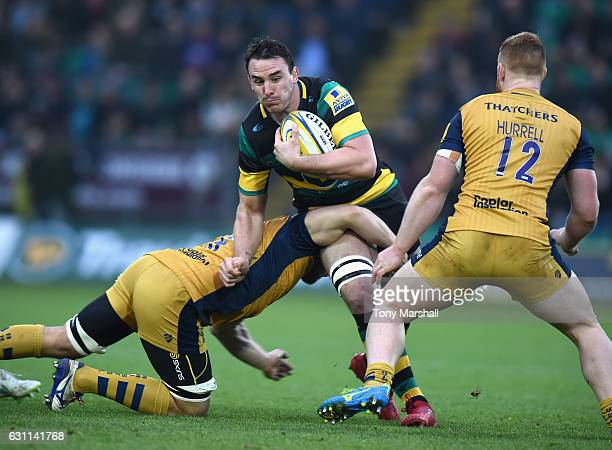 Louis Picamoles of Northampton Saints is tackled by Nick FentonWells of Bristol Rugby during the Aviva Premiership match between Northampton Saints...