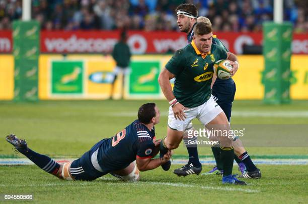 Louis Picamoles of the French tackles Malcolm Marx of the Springboks during the Castle Lager Incoming Series 1st Test between South Africa and France...