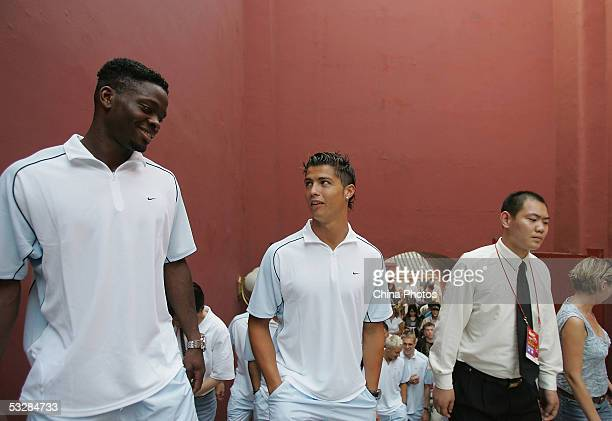 Louis Saha and Cristiano Ronaldo visit the Tiananmen Gate with the team on July 25 2005 in Beijing China Manchester United are in China's capital to...