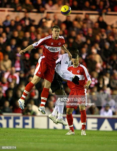 Louis Saha Manchester United and Robert Huth Middlesbrough battle for the ball