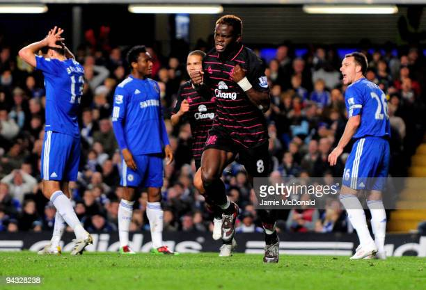 Louis Saha of Everton celebrates after scoring his team's third goal during the Barclays Premier League match between Chelsea and Everton at Stamford...
