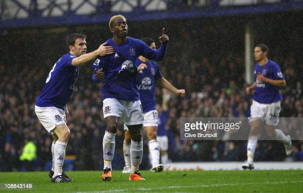 Louis Saha of Everton celebrates after scoring the first goal during the Barclays Premier League match between Everton and Blackpool at Goodison Park...