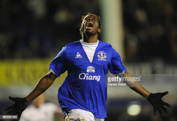 Louis Saha of Everton celebrates scoring his team's second goal during the Barclays Premier League match between Everton and Chelsea at Goodison Park...