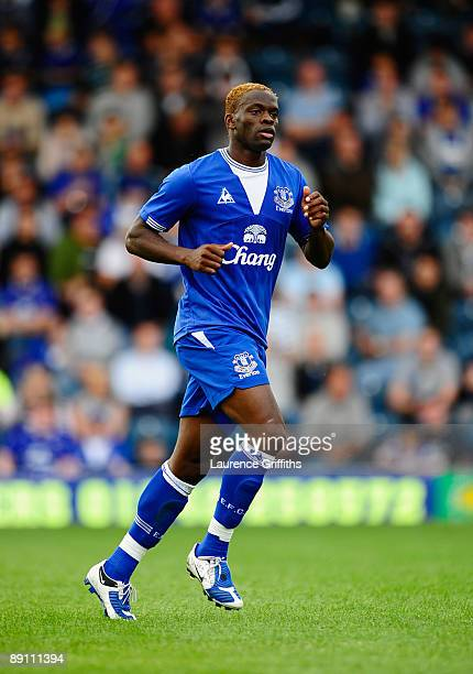 Louis Saha of Everton in action during the Pre Season Friendly match between Rochdale and Everton on July 18 2009 in Rochdale England