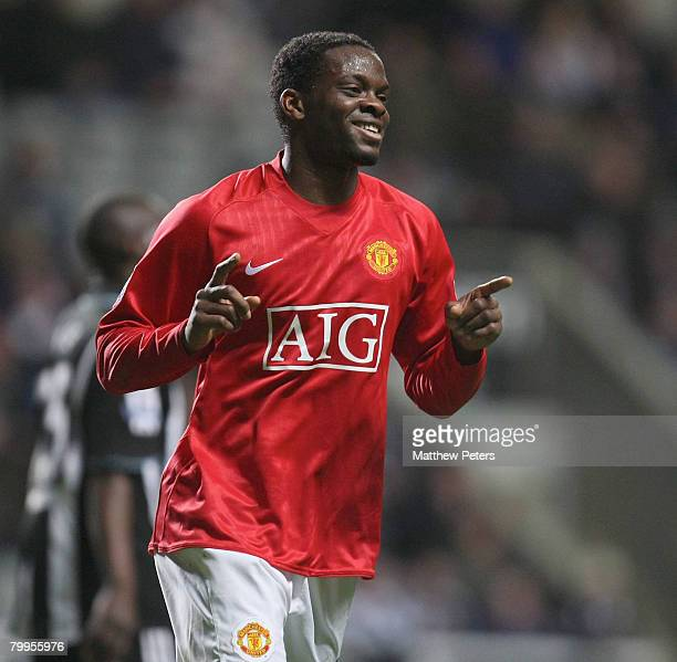 Louis Saha of Manchester United celebrates scoring their fifth goal during the Barclays FA Premier League match between Newcastle United and...