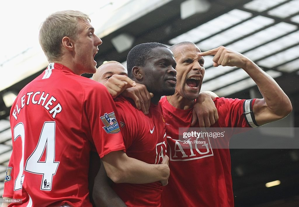 Louis Saha of Manchester United celebrates scoring their first goal during the Barclays FA Premier League match between Manchester United and Sunderland at Old Trafford on September 1 2007 in Manchester, England.