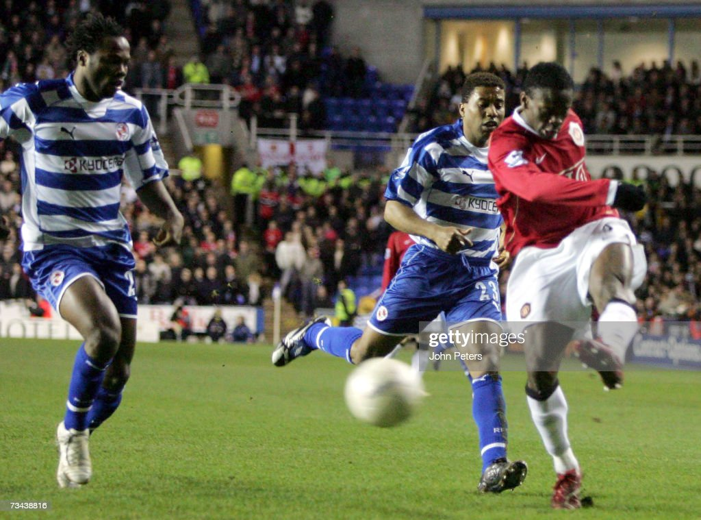 Louis Saha of Manchester United scores United's second goal during the FA Cup sponsored by EON Fifth Round Replay match between Reading and...