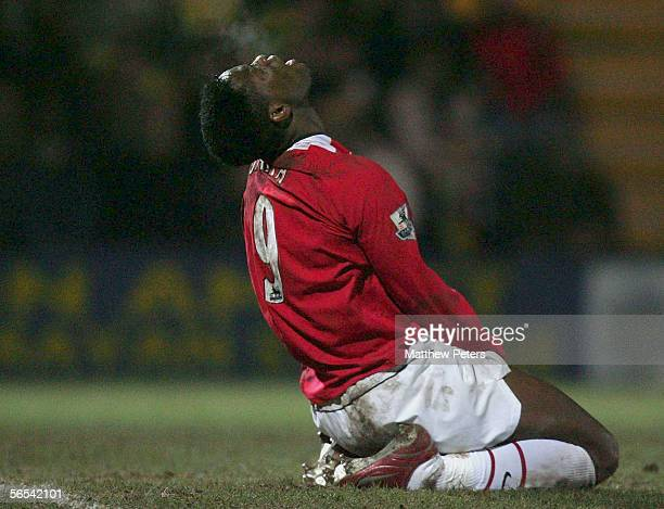 Louis Saha of Manchester United shows his disappointment at a missed chance during the FA Cup Third Round match between Burton Albion and Manchester...