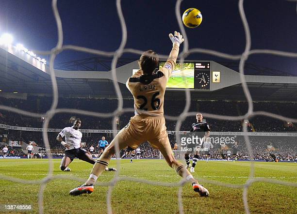 Louis Saha of Spurs scores their second goal past Tim Krul of Newcastle United during the Barclays Premier League match between Tottenham Hotspur and...