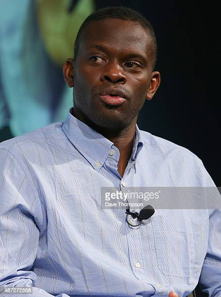 Louis Saha takes part in a discussion about 'Life after football' during day four of the Soccerex Global Convention at Manchester Central on...