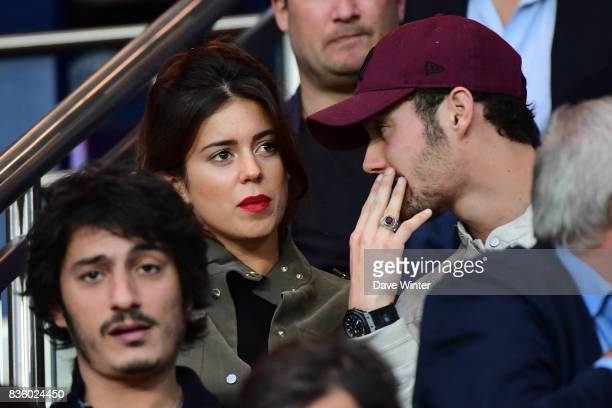 Louis Sarkozy son of former French president Nicolas Sarkozy with his girlfriend Capucine Anav during the Ligue 1 match between Paris Saint Germain...