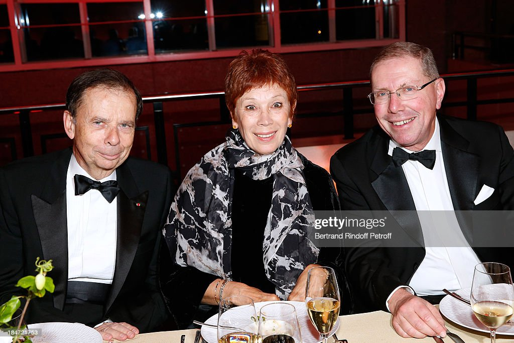Louis Schweitzer, Dance Director of the 'Opera de Paris' Brigitte Lefevre and President of the Board of the National Opera of Paris Bernard Stirn during the dinner after the representation - AROP Gala at Opera Bastille with a representation of 'Aida' on October 15, 2013 in Paris, France.