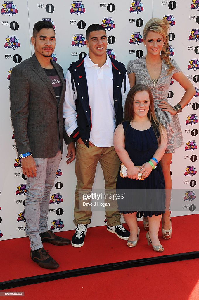 L-R <a gi-track='captionPersonalityLinkClicked' href=/galleries/search?phrase=Louis+Smith+-+Gymnast&family=editorial&specificpeople=798756 ng-click='$event.stopPropagation()'>Louis Smith</a>, Adam Gemeli, Ellie Simmonds and <a gi-track='captionPersonalityLinkClicked' href=/galleries/search?phrase=Laura+Trott&family=editorial&specificpeople=7205074 ng-click='$event.stopPropagation()'>Laura Trott</a> attend the BBC Radio 1 Teen Awards 2012 at Wembley Arena on October 7, 2012 in London. England