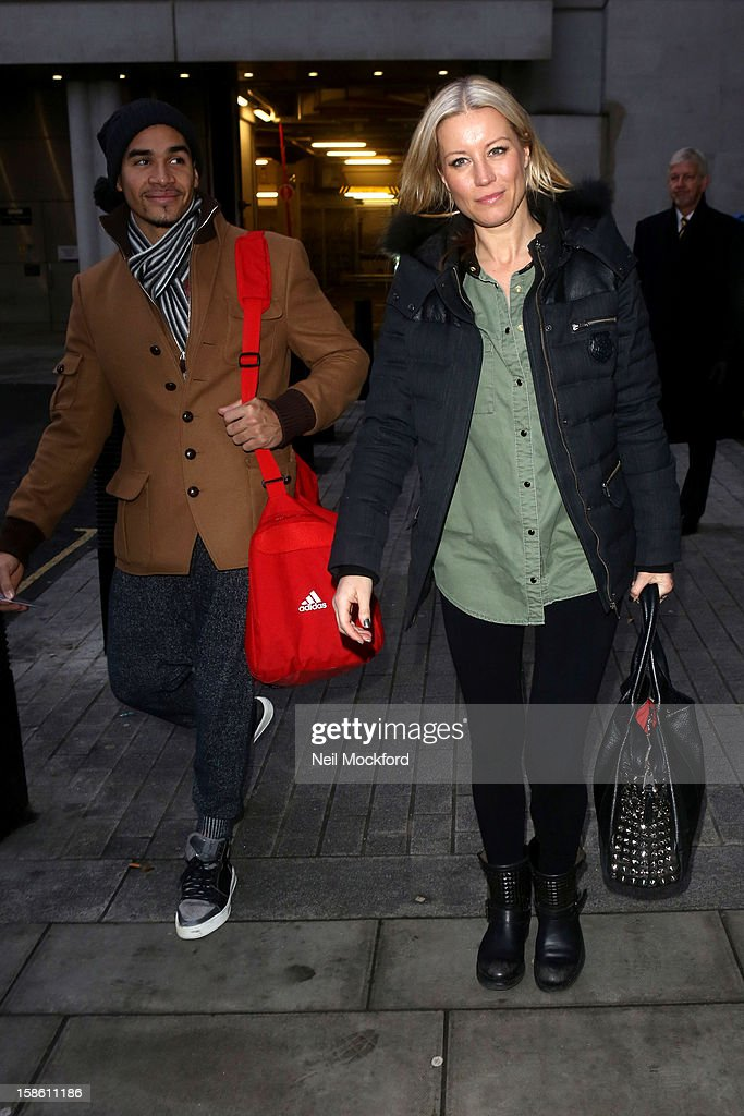 Louis Smith and Denise Van Outen seen at BBC Radio 1 ahead of the Strictly Come Dancing Final on December 21, 2012 in London, England.