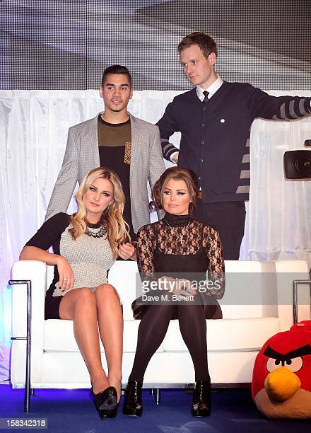 Louis Smith Dan Walker and Sam Faiers and Jessica Wright attend the Samsung Smart TV Angry Birds Party at Westfield Stratford City on December 13...