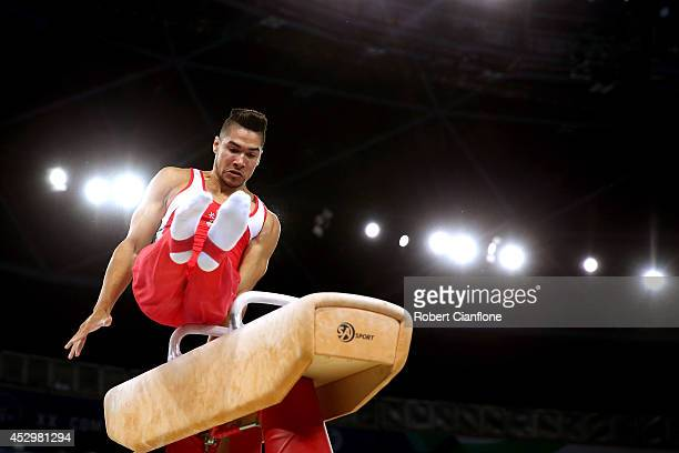 Louis Smith of England competes in the Men's Pommel Horse Final at SSE Hydro during day eight of the Glasgow 2014 Commonwealth Games on July 31 2014...