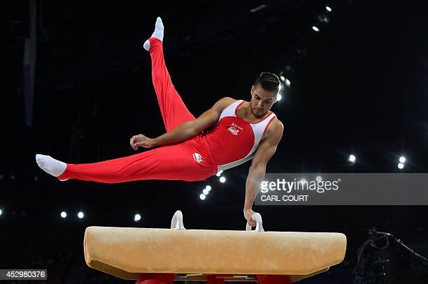 Louis Smith of England performs in the Men's Pommel Horse final of the Artistic Gymnastics event during the 2014 Commonwealth Games in Glasgow...