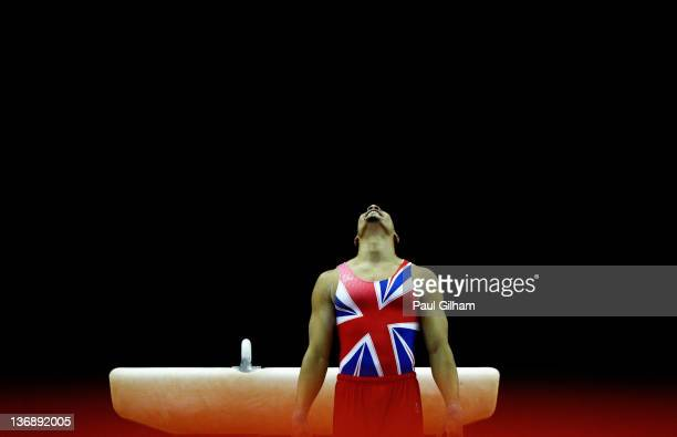 Louis Smith of Great Britain celebrates by the Pommel Horse on his way to a gold medal during the Men's Artistic Gymnastics Individual Olympic...