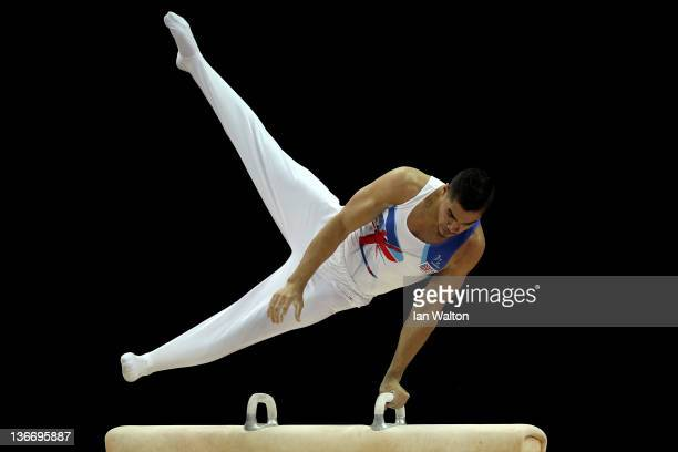 Louis Smith of Great Britain in action on the Pommel Horse during day one of the Men's Gymnastics Olympic Qualification round at North Greenwich...
