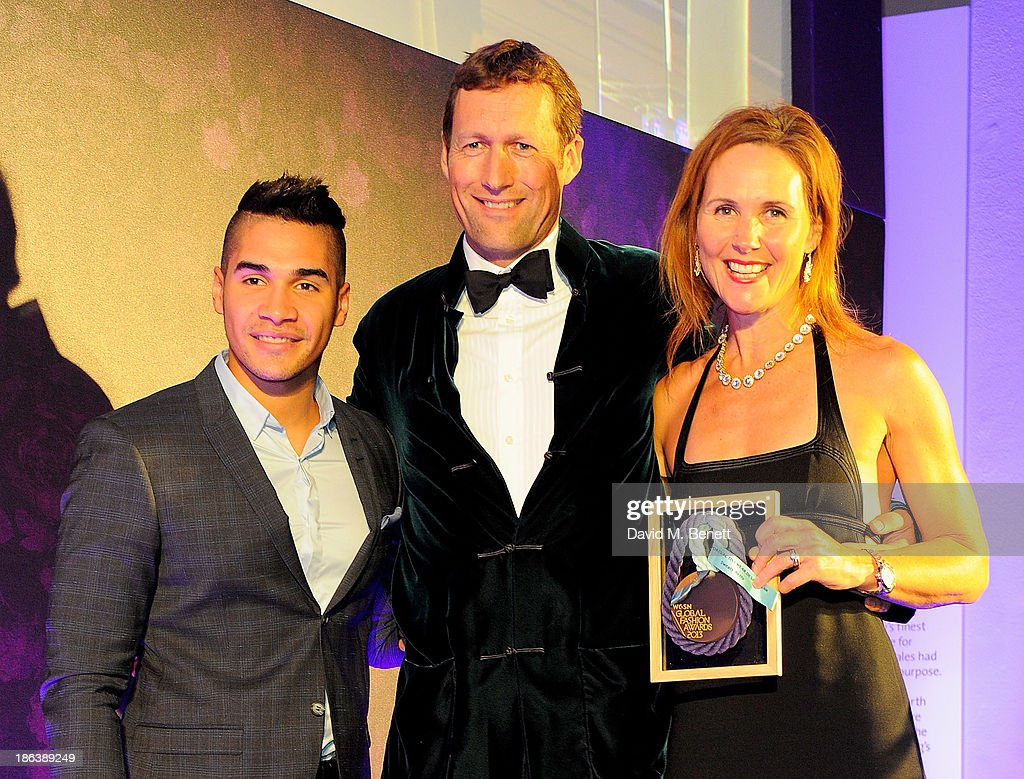 Louis Smith, Simon Hill-Norton and Tamara Hill-Norton of Sweaty Betty, winner of the Sports/Activewear Design Team award, pose backstage The WGSN Global Fashion Awards at the Victoria & Albert Museum on October 30, 2013 in London, England.